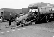 Ferrari 166 V12  David Murray's car being driven out of the Ecurie Ecosse transporter. Winfield 1951